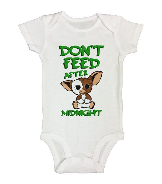 """Cute Baby Onesie  """" Don't Feed After Midnight """" - Kids Movie Collection - Funny Animal Shirts - Bodysuit - Newborn - Toddler Option - 306"""