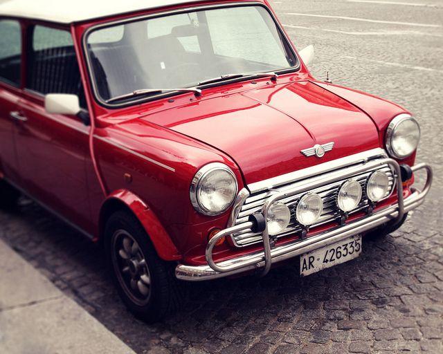 classic/original mini cooper in red