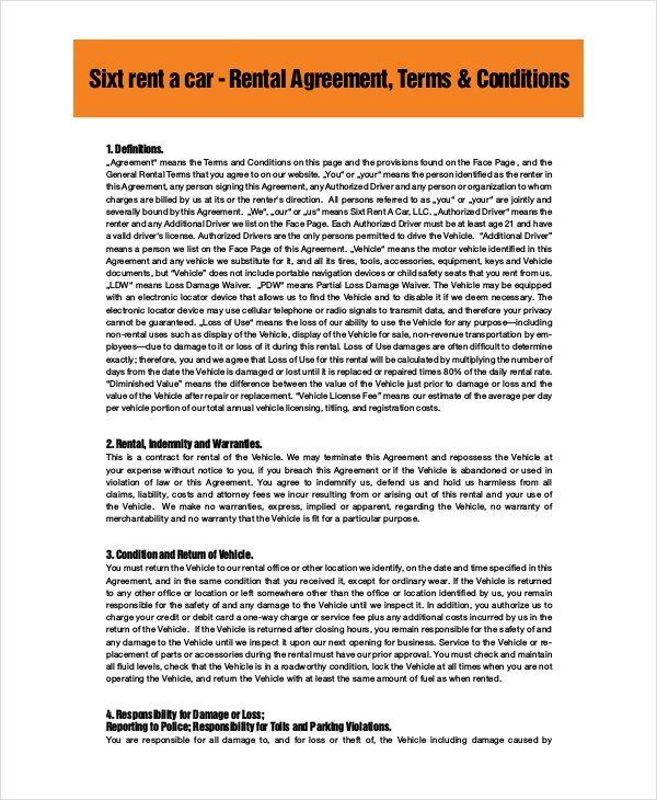 Sixth Car Rental Agreement PDF Free Download Diamonds Rental