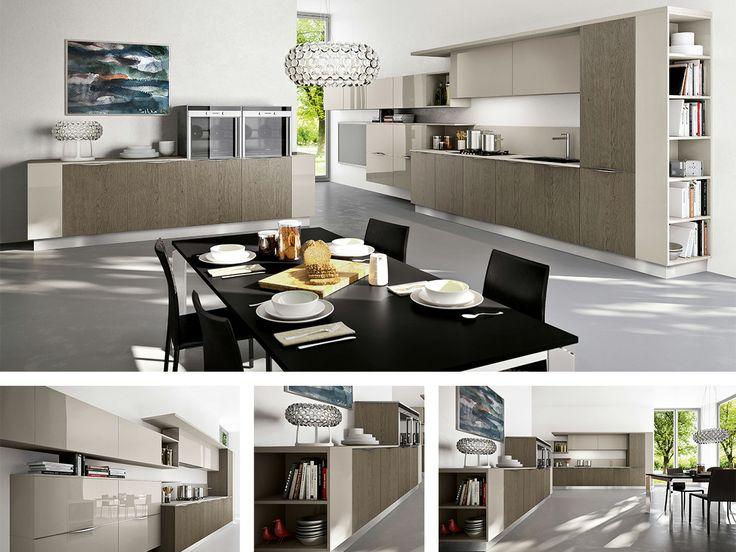 CUCINA GIORGIA  Cucina angolare moderna composta da colonne, cassetti e innovativi scaffali laterali, che accompagnano l'ambiente cucina all...