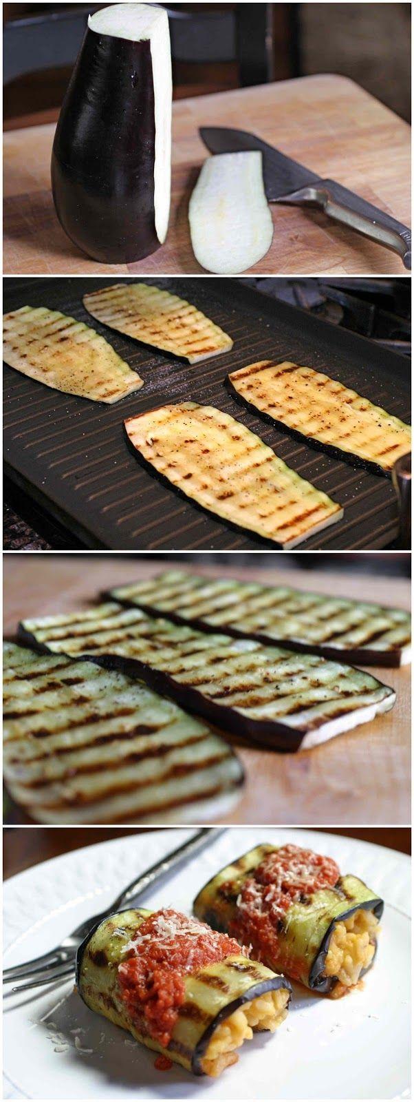 Relleno de berenjena. Colocarlas por lado y lado y después rellenar lo que deseas (carne molida o arroz)