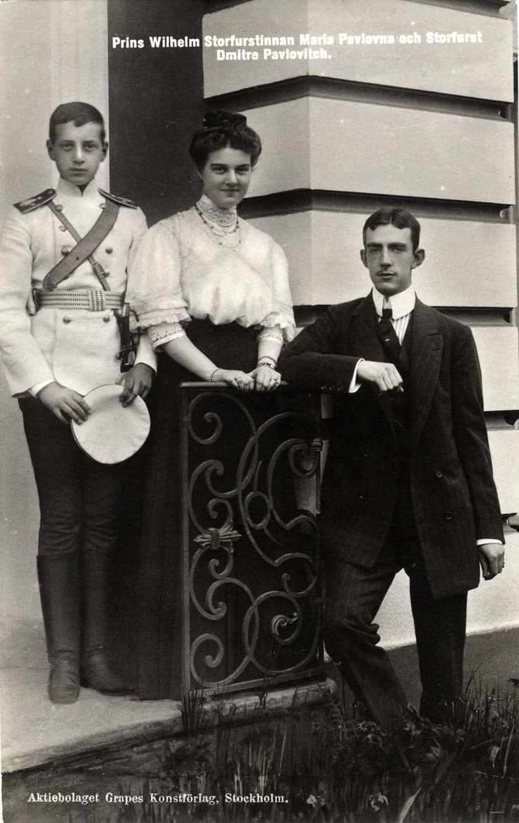 "imperial-russia: "" Grand Duchess Maria Pavlovna with her fiancé Prince Wilhelm of Sweden and her younger brother Grand Duke Dmitri Pavlovich. Maria was not in love with Wilhelm and was more or less pushed into marriage by others. Leaving Dmitri..."