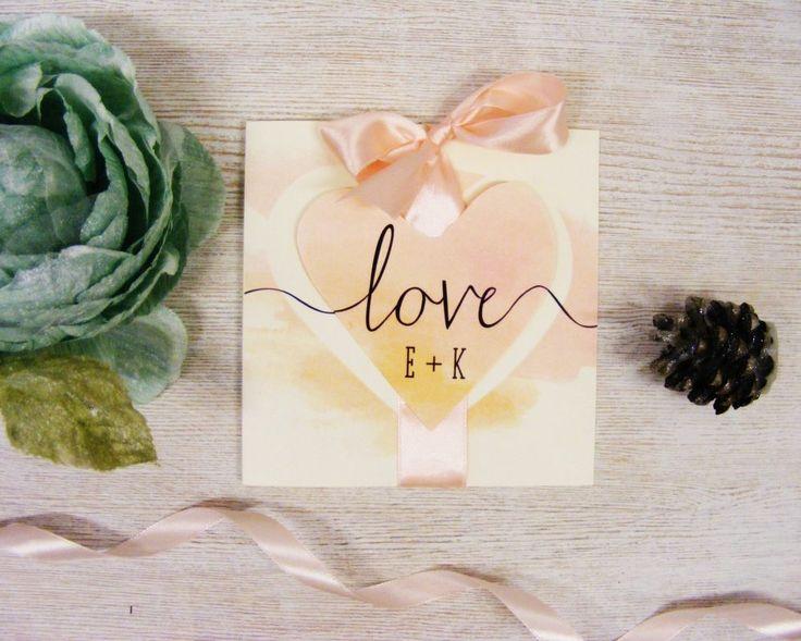 Zaproszenia ślubne akwarelowe WK1 z kopertą