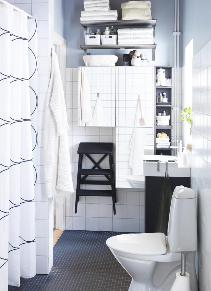 small space, maximum storage: Bathroom Closets, Bathroom Inspiration, Modern Bathroom Design, Small Bathroom, Bathroom Vanities, White Bathroom, Bathroom Ideas, Bathroom Organic, Ikea Bathroom