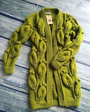 Knitted cardigan | Купить Кардиган Листья фисташковый - кардиган вязаный, кардиган женский, кардиган ручной работы