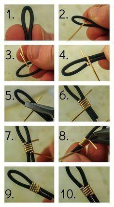 #DIY #JEWELRY Zum Veredeln des Lederbandes mit Draht