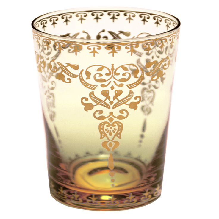 Gold Design on Amber Moroccan Glass