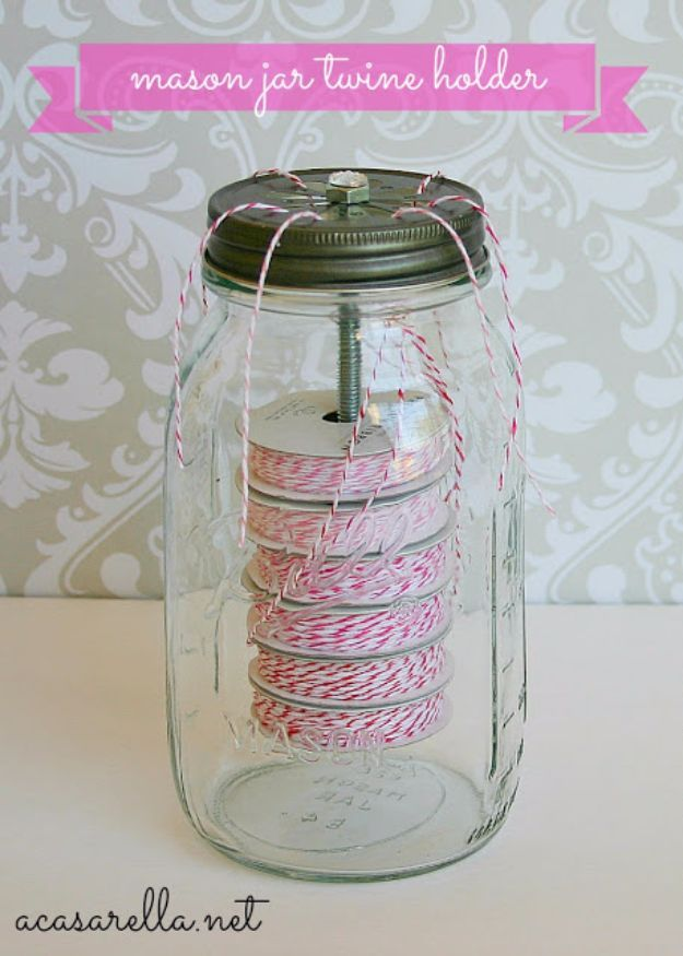 DIY Craft Room Storage Ideas and Craft Room Organization Projects - Mason Jar Twine Holder - Cool Ideas for Do It Yourself Craft Storage, Craft Room Decor and Organizing Project Ideas - fabric, paper, pens, creative tools, crafts supplies, shelves and sewing notions http://diyjoy.com/diy-craft-room-storage