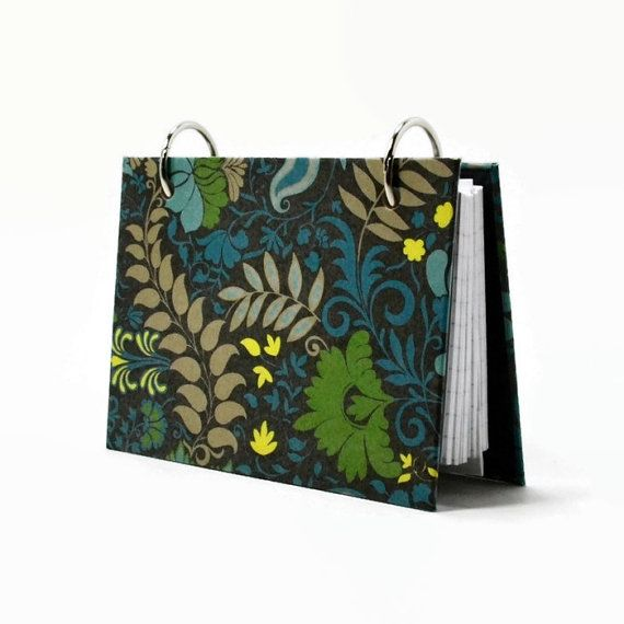 Modern floral on black index card binder http://etsy.me/1Bd2fpz by @ArtBySunfire on #indexcards #recipe binder #Etsy