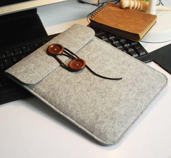 Felt ipad sleeve ,iPad case , custom Tablet  sleeve  , with Wood button and Leather cord  design (504) via Etsy