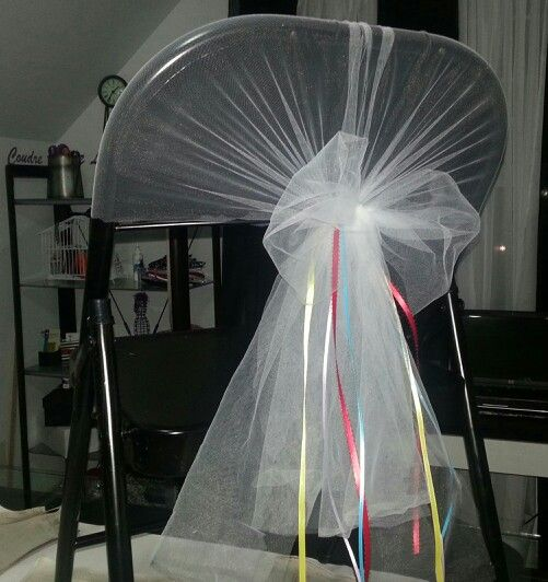 Cheap idea to Cover a card chair for wedding cost 35 cents if tulle is on sale.