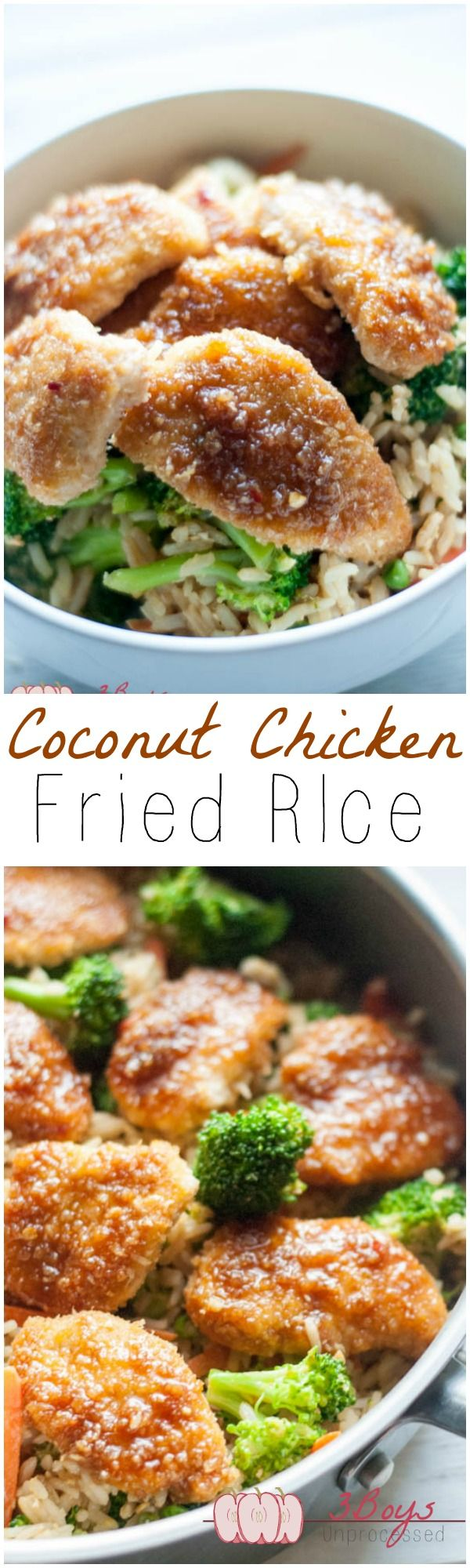 Coconut Chicken Fried Rice. Takeout style without the unhealthy oils and mystery ingredients!