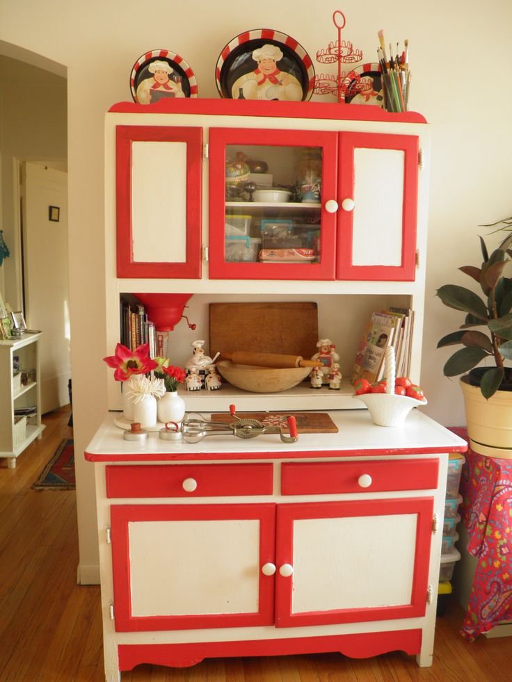 Red And White Hoosier Kitchen Cabinet The Link Has Its
