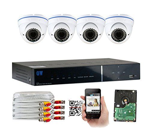 GW Security 4CH HD DVR Security System, QR-Code Connection, 4 Day Night 2400TVL High Resolution Weatherproof Dome Cameras CCTV Surveillance System 1TB HDD *** You can get additional details at the image link.