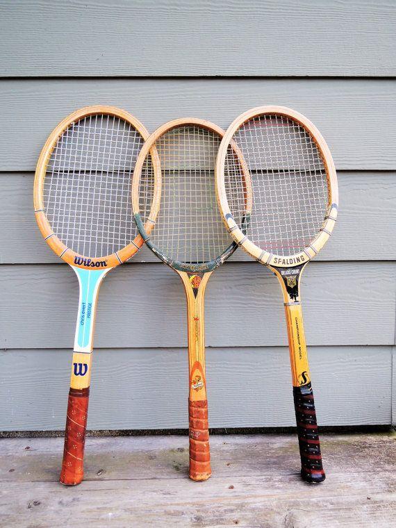 Vintage Wood Tennis Racket Mid Century Spalding, Wilson, Master Stroke, Ideal…