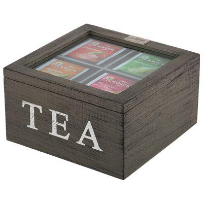 Thee doos Altavilla 4 vaks grijs + zwarte finish. Collectione / Casa-Bella #Accessoires #Opbergen #Doosje #Box #Theedoos #Tea