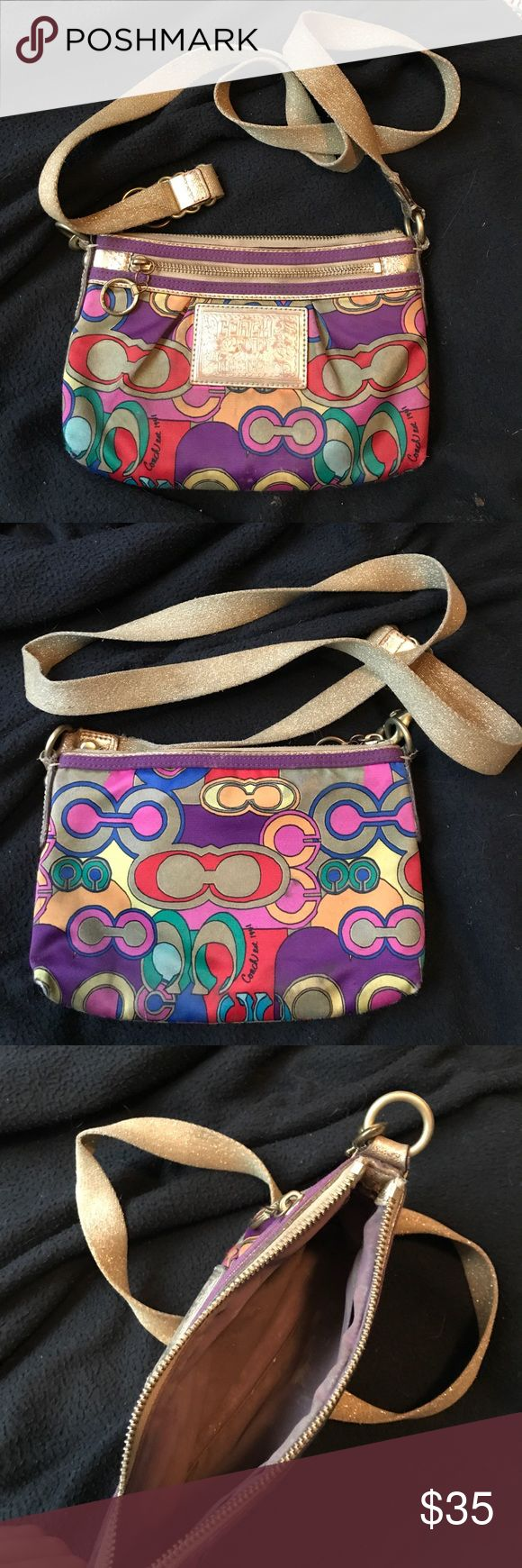 Coach Poppy Cross body bag! Multi🌈 Coach poppy crossbody bag! Used condition but in great shape. Some frays, and wear on the coach emblem. Shown in pictures! Inside is a little dirty will try to wash if interested. Open to offers. Coach Bags Crossbody Bags