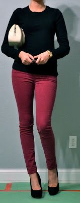 I like this as a casual or going out outfit. The black is classy, but it still has a pop of color with the pants.