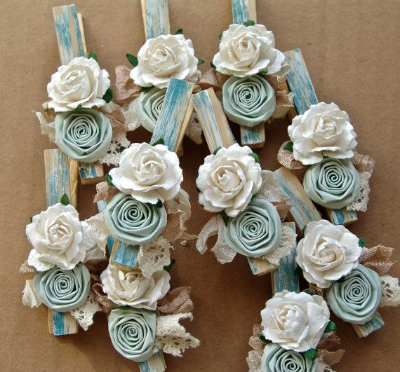 shabby chic clothes pins | Shabby Chic decorative clothespins Set of 8 clothing pegs CUSTOM ...