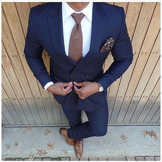 Dark Blue Wedding Suits 2 Pieces Mens Slim Fits