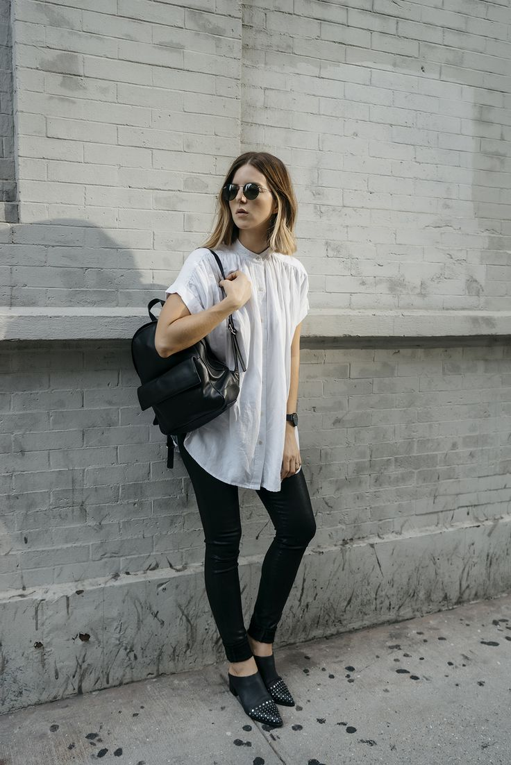 Black and white outfit - Aritzia top, Skagen backpack, Ray Ban sunglasses, Senso slip on shoes