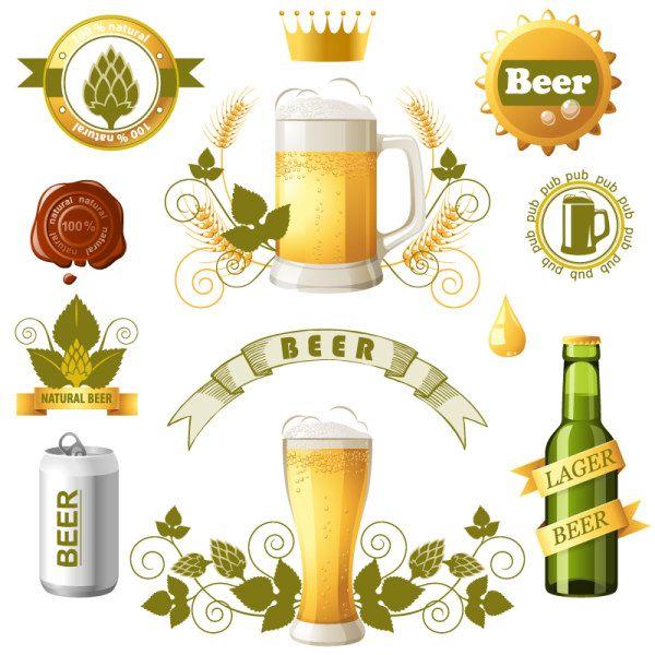 Beer bottles with beer labels vector free