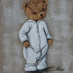 Tableau de nounours en pyjama sur toile de lin