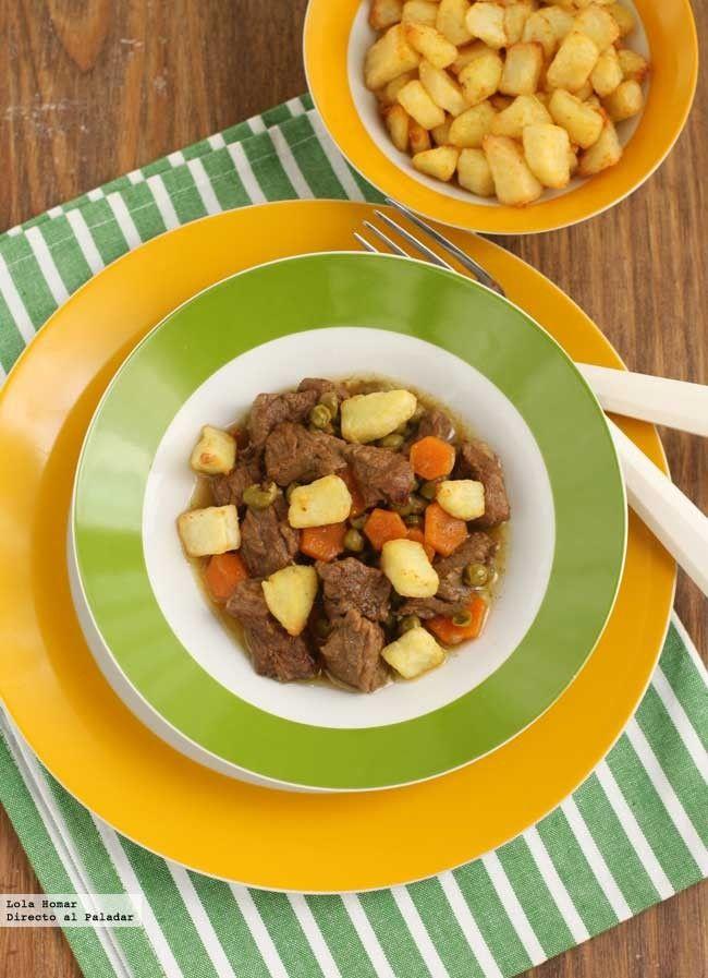 Receta de ternera con guisantes y zanahorias. Con fotos de presentación y paso a paso y consejos de elaboración, de degustación y de presentaci�...