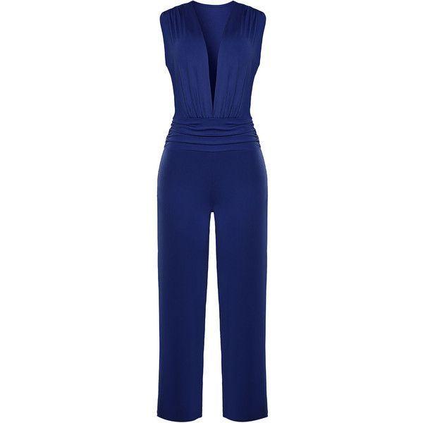 0a955e5ebd5 Deep V-Neck Fancy Plain Wide-Leg Jumpsuit ( 32) ❤ liked on Polyvore  featuring jumpsuits