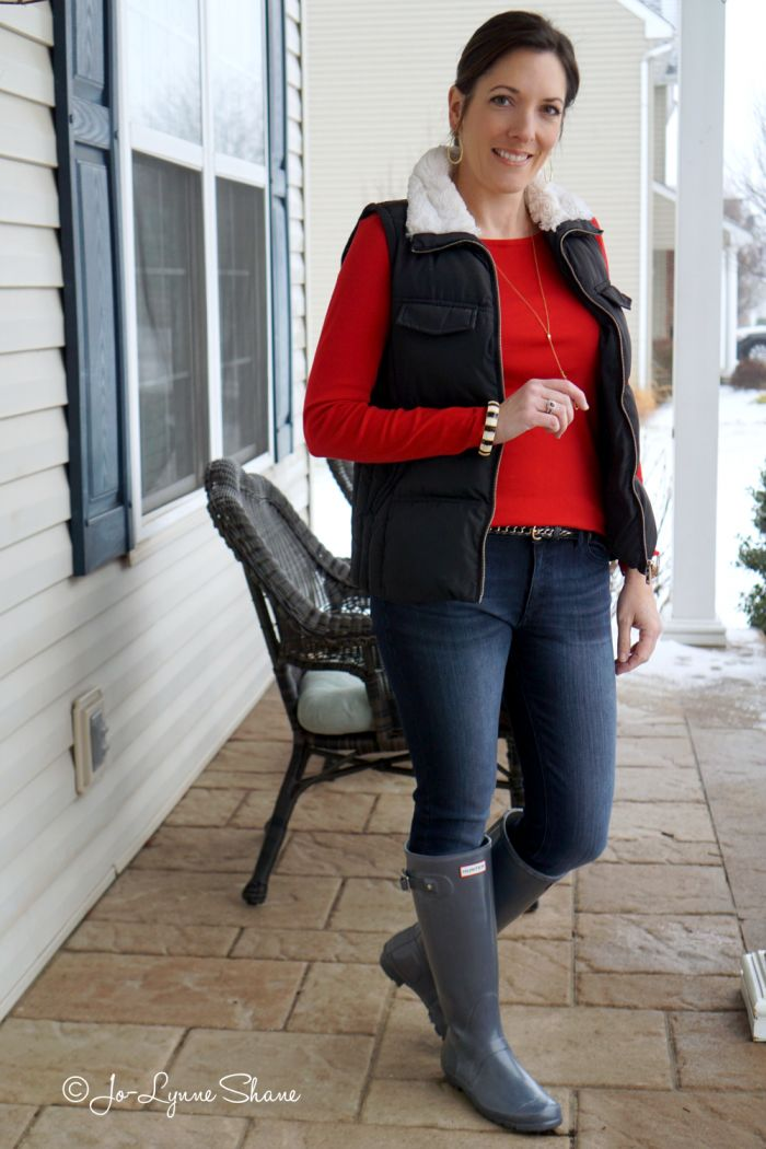 28 Days of Winter Fashion: Casual Winter Outfit for Moms. In honor of Valentine's Day and Go Red for Women, I'm wearing a red top with jeans and black vest and grey Hunter rain boots. Comfy clothes FTW!