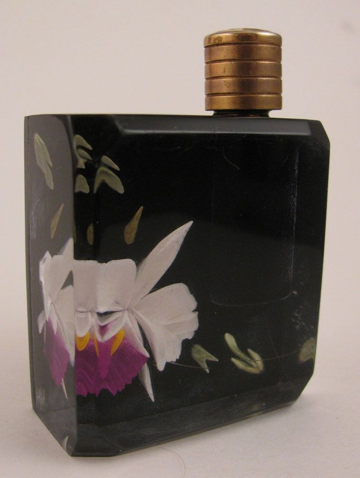 Mid Century Modern 1950s Lucite Black Orchid Perfume Bottle