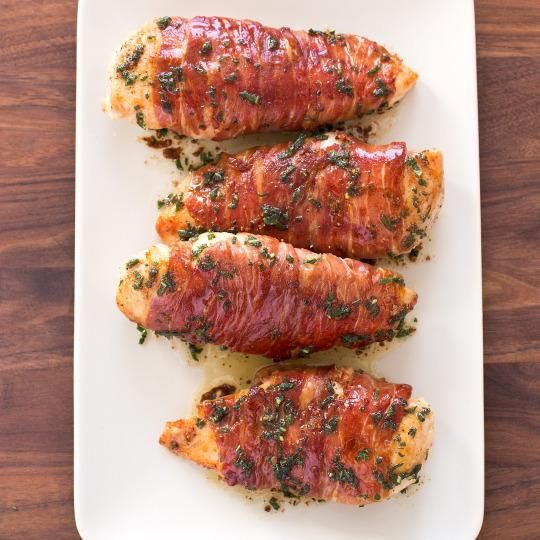 The easiest chicken saltimbocca recipe ever. Boneless chicken breast is wrapped in thin slices of prosciutto and fresh sage. A great dinner dish for Father's Day.
