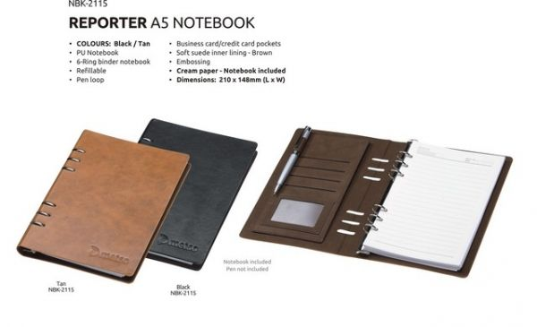 A5 Leather Notebook Reporter Notebook PU Notebook 6- Ring Binder Notebook Refillable Pen Loop Business/ Credit Card Pockets Soft Suede Inner Linning – Brown Cream Paper Brand by Embossing Dimensions : 210 × 148 mm (L x W) Colours : Black or Tan