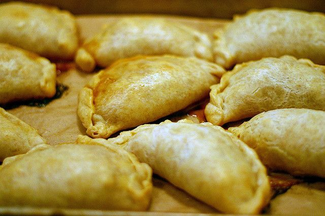 Chicken empanada with chorizo and olives, baked by smitten, via Flickr