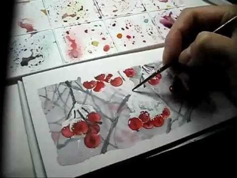 Как нарисовать снег акварелью,watercolor,Aquarell