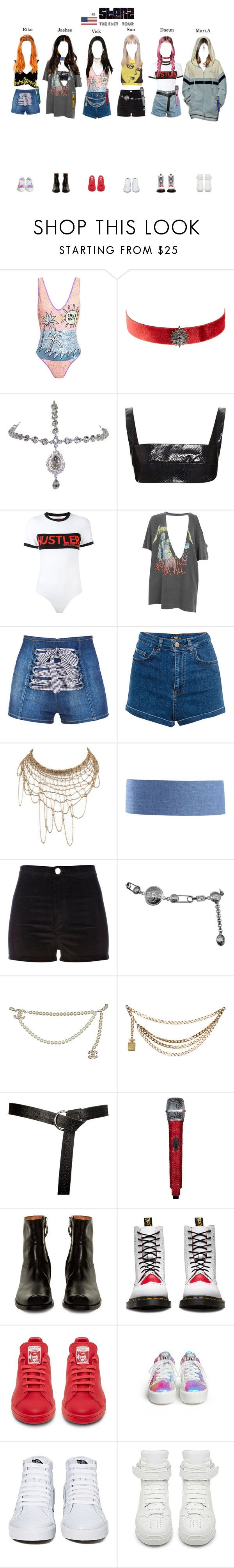 """""""THE FACT TOUR    New York, USA"""" by starz-official ❤ liked on Polyvore featuring Emma Mulholland, FARIS, Artisan, Dion Lee, Hood by Air, And Finally, Pull&Bear, Martha Medeiros, River Island and Versace"""