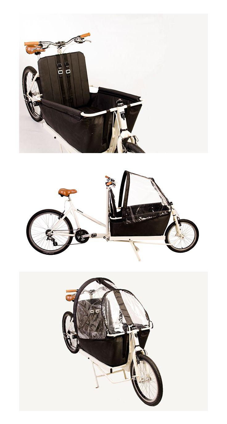 La bicicleta Cargo Elite fue diseñada para llevar a dos niños.  Conseguí la tuya en www.quilua.com ▶ 2 cinturones de seguridad ▶ 1 Cover para proteger de vientos y llovizna.  ▶ Piñon Shimano de 7 velocidades
