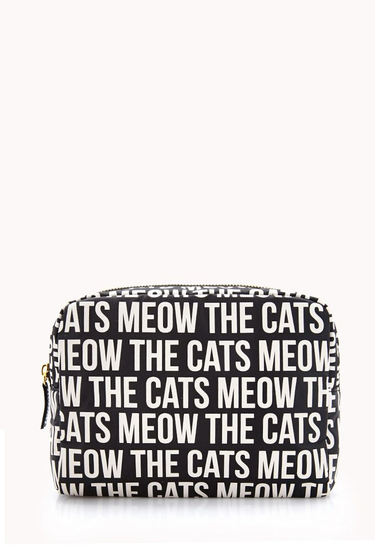 Cats Meow Midsize Cosmetic Bag | FOREVER21 Makeup is the cats meow #Cosmetics #WishPinWin #ForeverHoliday