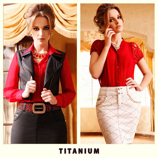 Batalha de looks: O vermelho fica melhor com saia preta ou com saia bege?