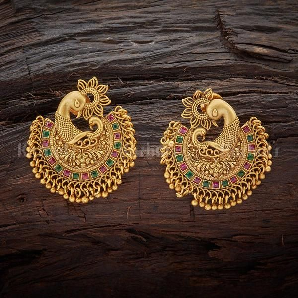 Pea Design Antique Earrings Studded With Ruby Green Stones Jewellery Kushalsfashionjewellery