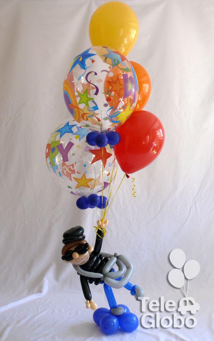 Ramo de globos Feliz Cumpleaños con globo-retrato