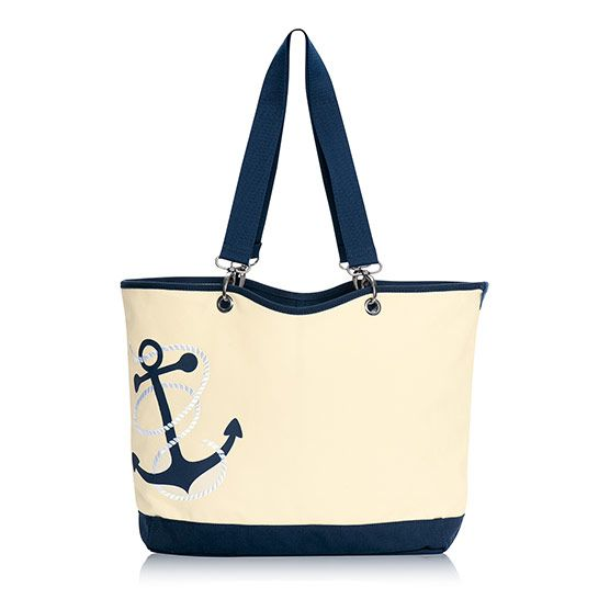 Canvas Crew Tote - Navy Anchor: