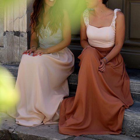 """ARIEL"" checked top with ""ONDINE"" light pink skirt and ""THE LOVERS"" bustier with ""ONDINE"" terracotta skirt photo @teapotgr #karavan #karavanclothing #karavangirl #mermaidsandrascals #ondine #maxiskirt #ariel #top #loversbustier #ss16 #summer16 #summer #love #greekdesigners"