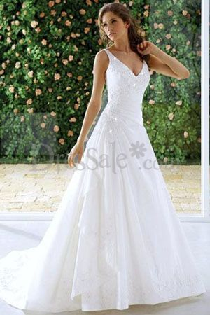 Causal A Line Wedding Dresses With Plunging Neckline