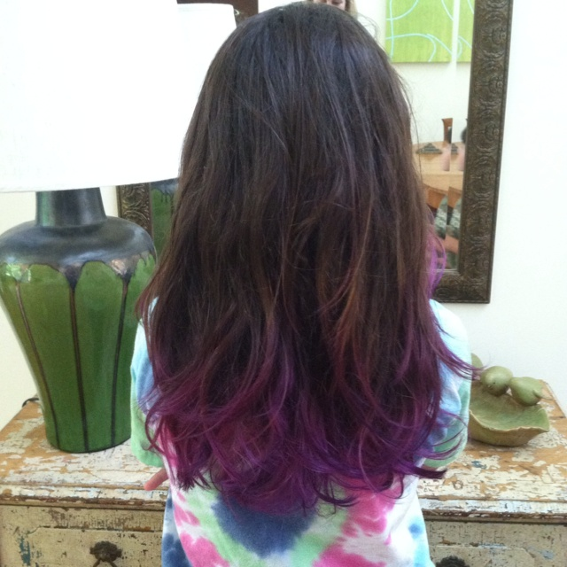 Purple dip dye looks so good with brown hair @Anna Shults