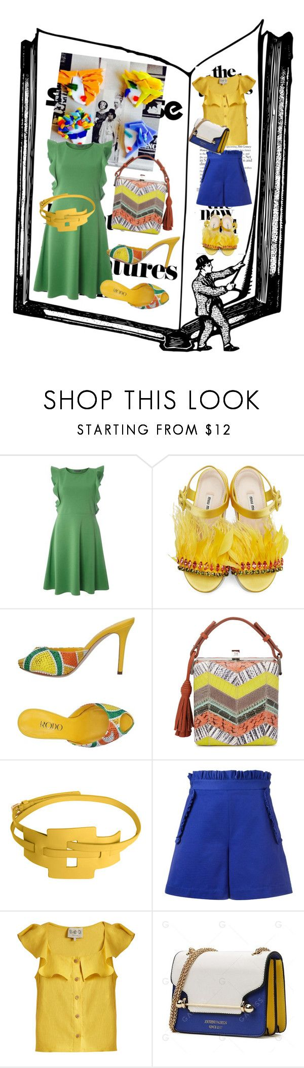 """Броши от @steklo-ibis"" by zakharova-83 ❤ liked on Polyvore featuring Dorothy Perkins, Miu Miu, Rodo, Jill Haber, MSGM and Sea, New York"