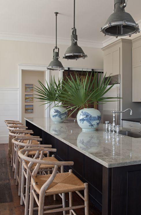 Collins Interiors - kitchens - rustic wood floors, industrial pendant, gray industrial pendant, granite counters, granite countertops, gray ...