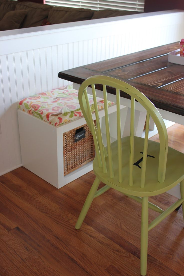 Ikea Expedit bookcase, turned on its side and a cushion made for it. Going in my kitchen...