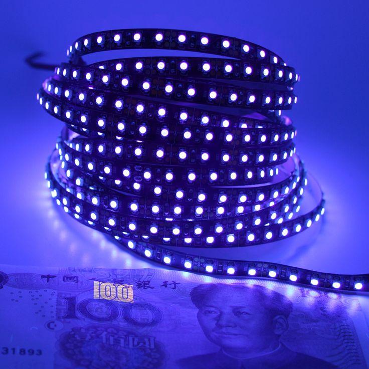 12 V Ultraviolet UV LED Blacklight Étanche non/IP65 Nuit De Pêche 395nm 120 leds/m 60 leds/m 3528 SMD PCB noir LED Bande Lumière