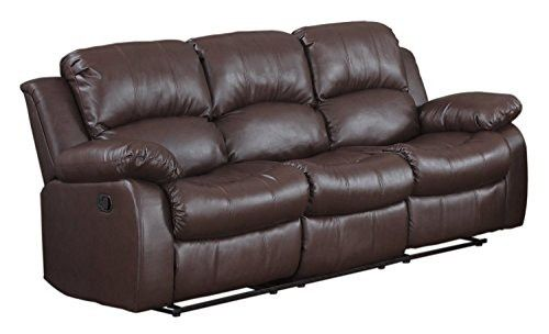 double recliner chairs leather counter bonded sofa living room reclining couch brown